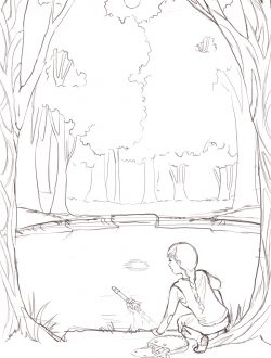 This was the angle I'd imagined. I liked the moon and the reflection, but I wanted the forest to feel more dense. Also, we moved to tweaking Fiona so she looked just like the warrior misfit I'd written about.